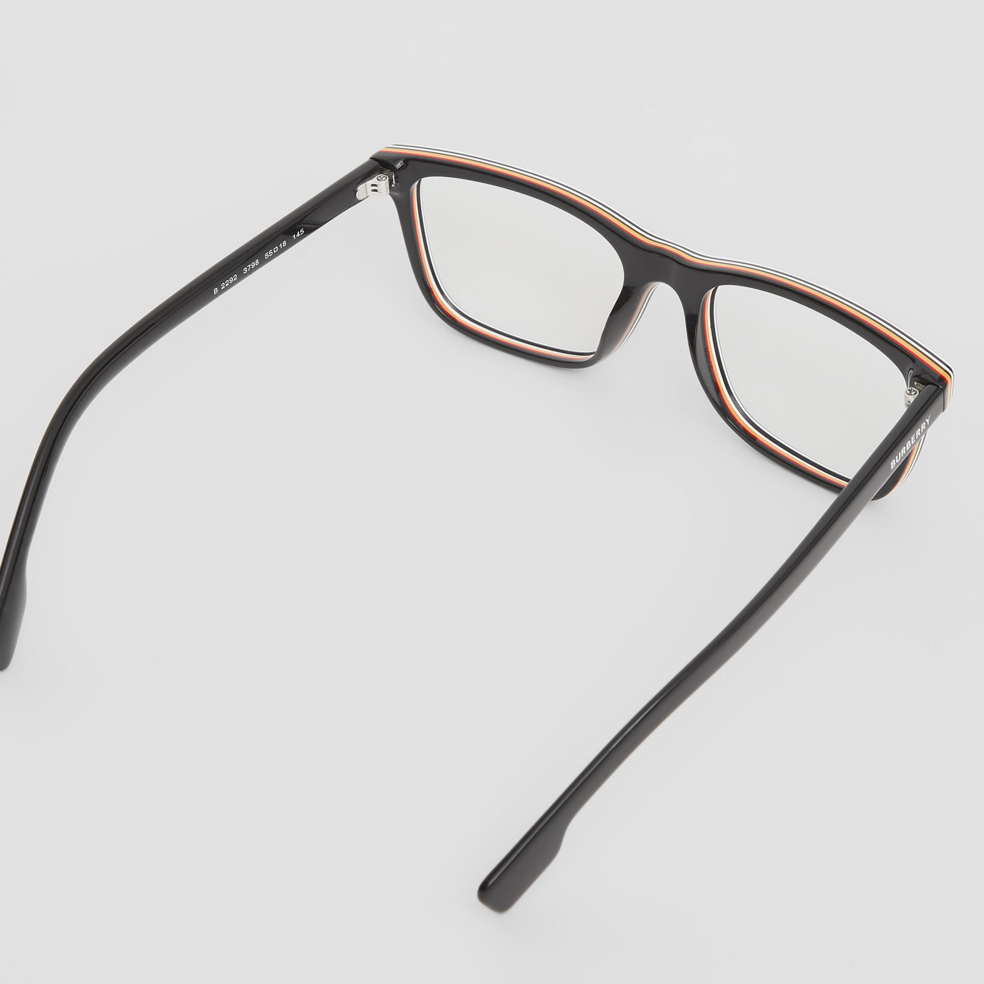 Icon Stripe Detail Rectangular Optical Frames in Black - Men | Burberry United Kingdom - gallery image 4