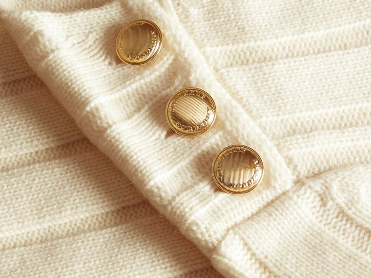 Natural white Ribbed Wool Cashmere Sweater - cell image 1