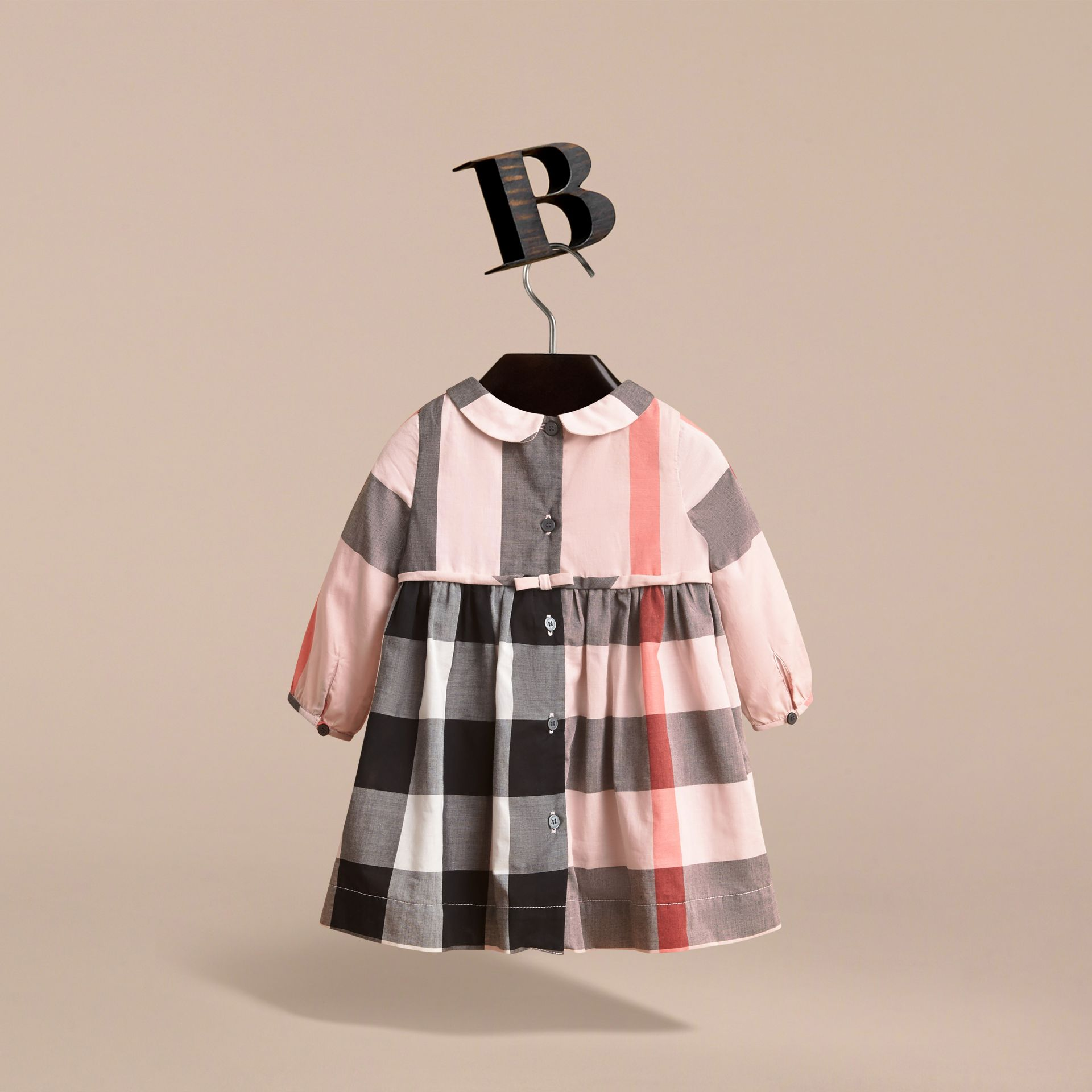 Long-sleeve Check Pintuck Bib Cotton Dress in Vintage Pink | Burberry - gallery image 4
