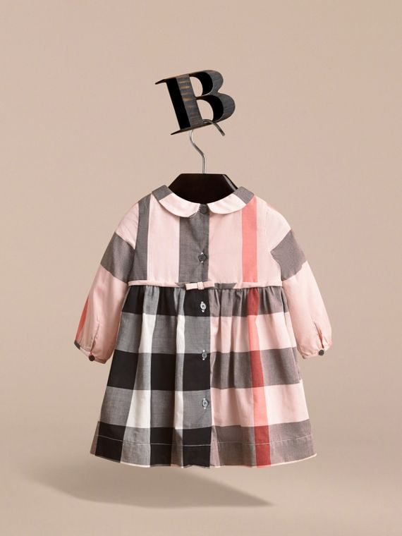 Long-sleeve Check Pintuck Bib Cotton Dress in Vintage Pink | Burberry - cell image 3