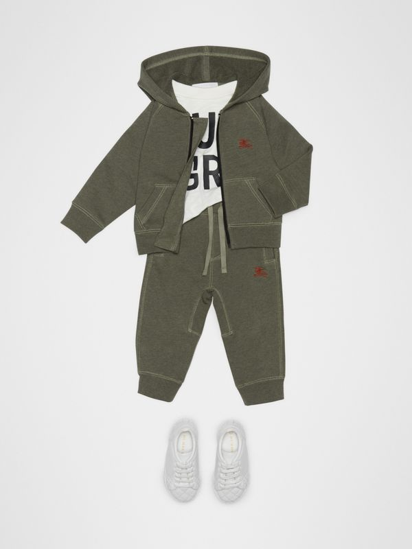 Embroidered Logo Cotton Trackpants in Olive Melange - Children | Burberry - cell image 2