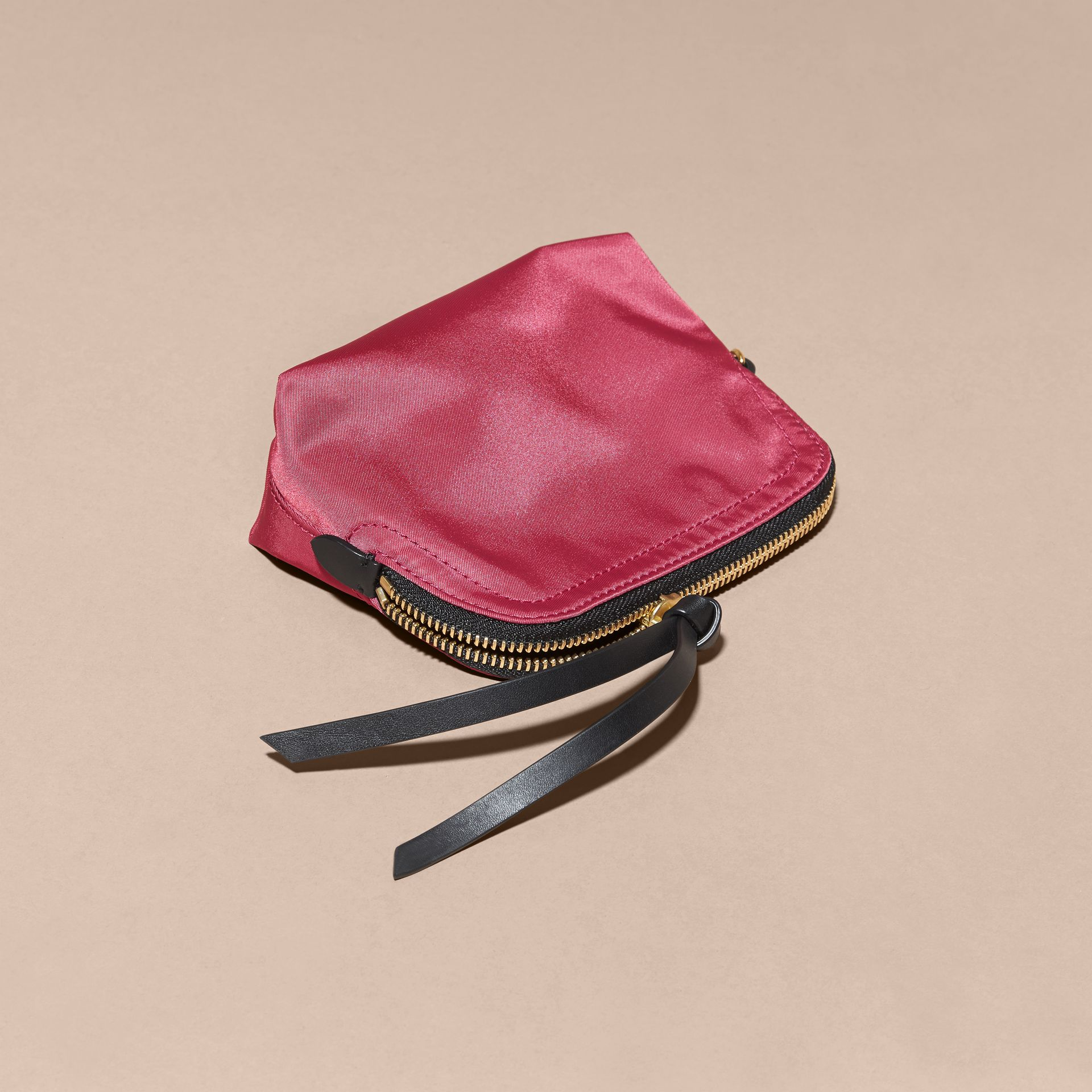 Small Zip-top Technical Nylon Pouch in Plum Pink - gallery image 3
