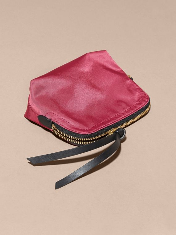 Small Zip-top Technical Nylon Pouch in Plum Pink - cell image 2
