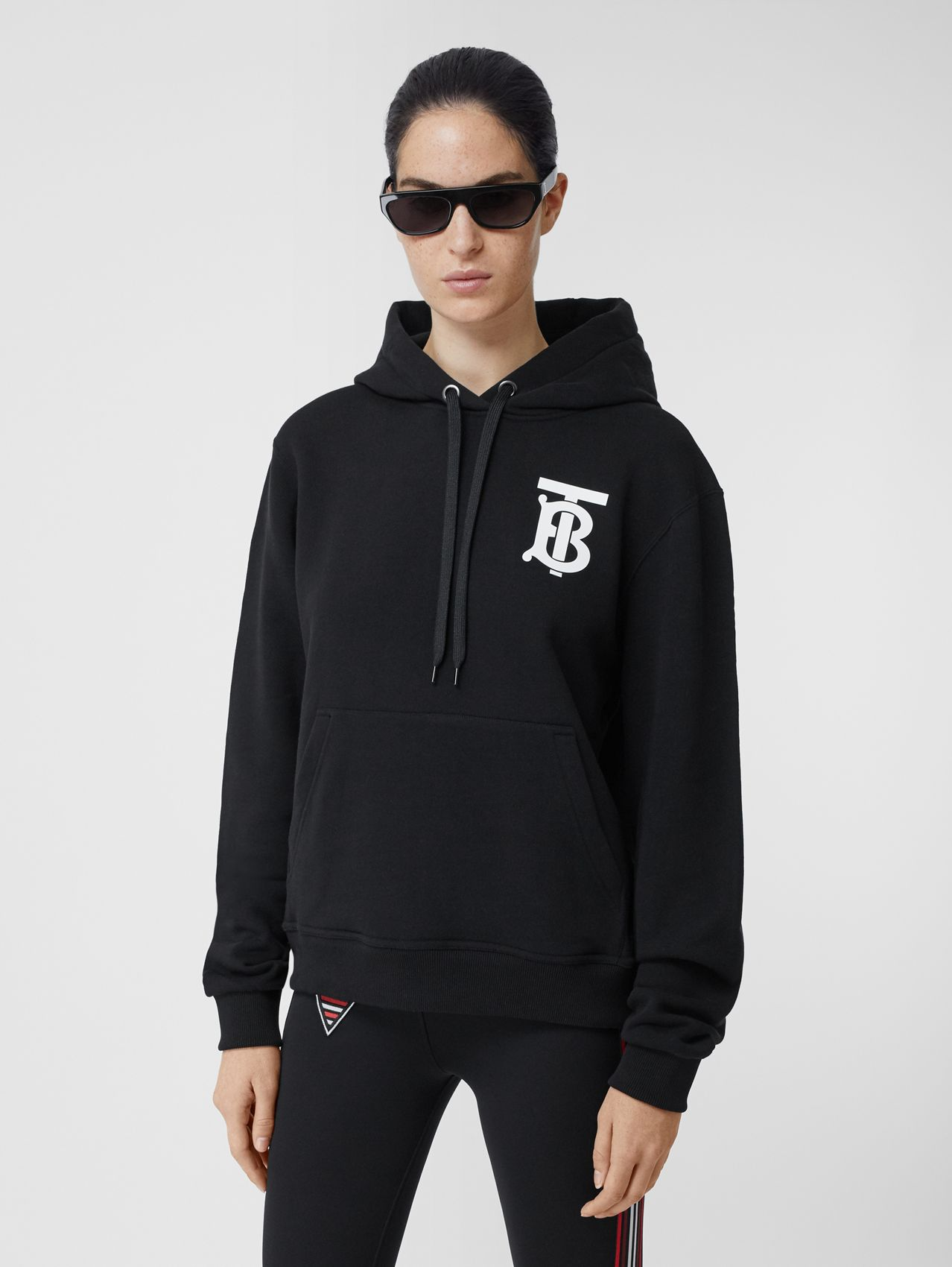 Monogram Motif Cotton Hoodie (Black)