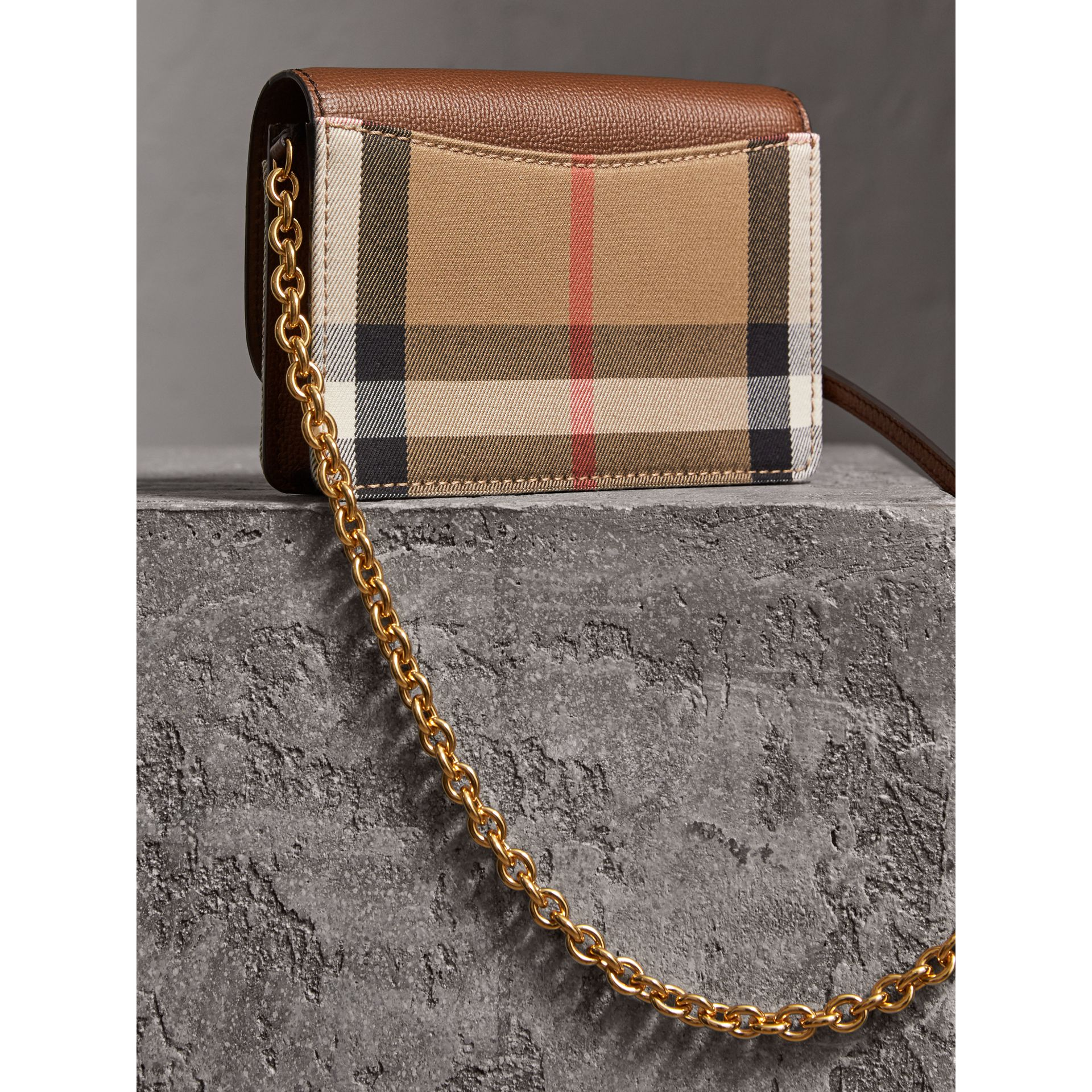 Leather and House Check Wallet with Detachable Strap in Tan - Women | Burberry - gallery image 5