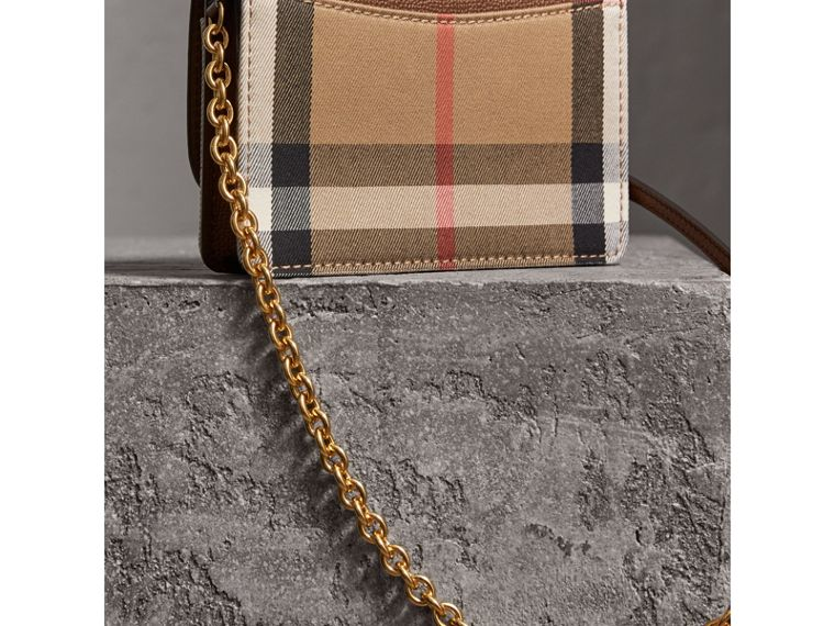 Leather and House Check Wallet with Detachable Strap in Tan - Women | Burberry United Kingdom - cell image 4