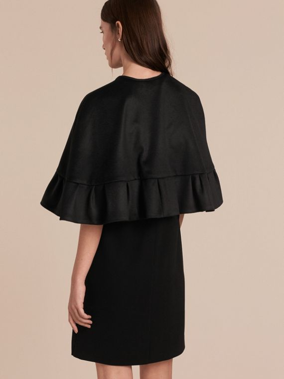 Ruffle Hem Cashmere Cape in Black - cell image 2