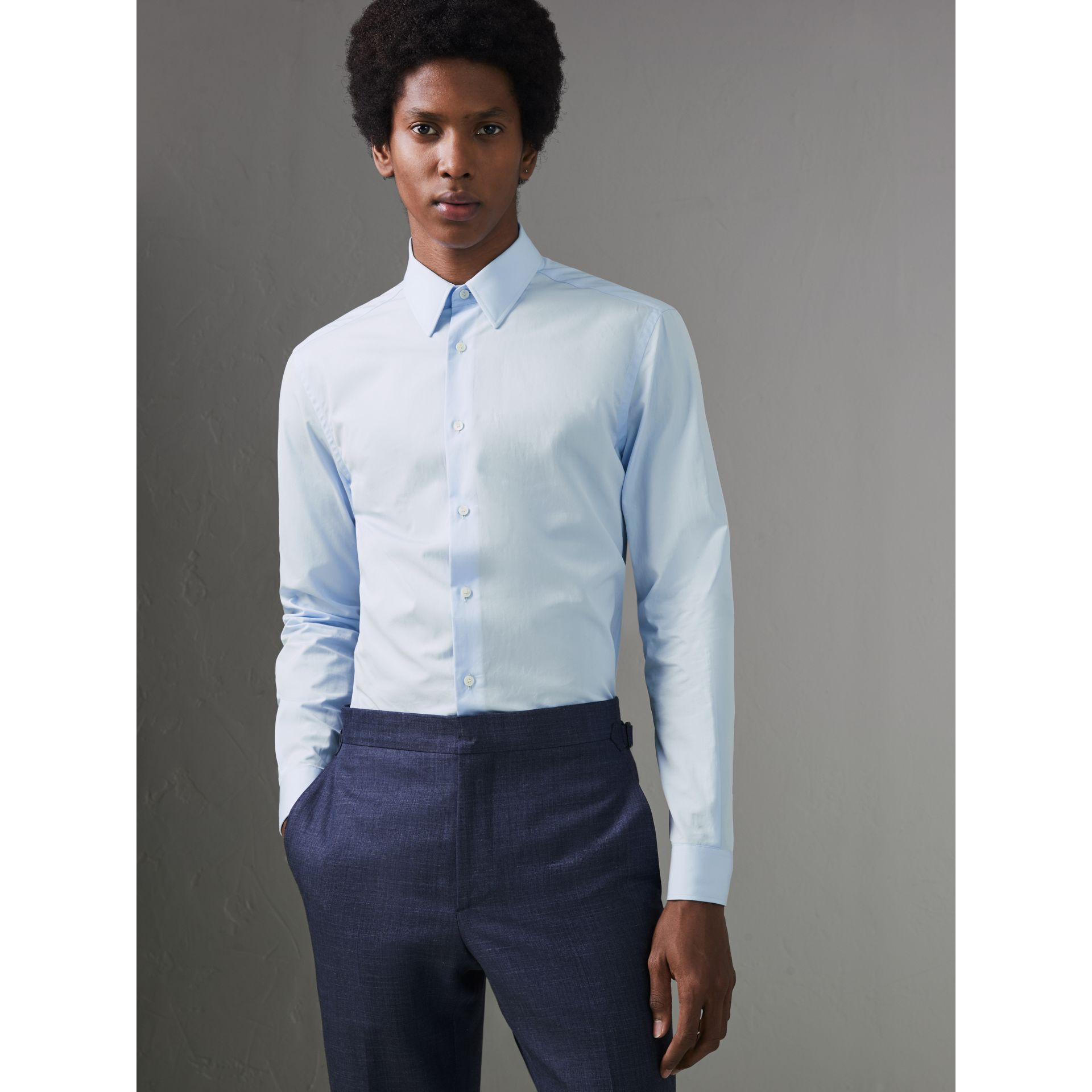Slim Fit Cotton Poplin Shirt in City Blue - Men | Burberry Hong Kong - gallery image 4