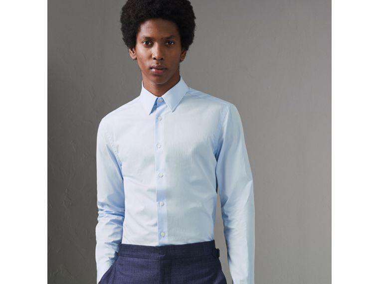 Slim Fit Cotton Poplin Shirt in City Blue - Men | Burberry Hong Kong - cell image 4