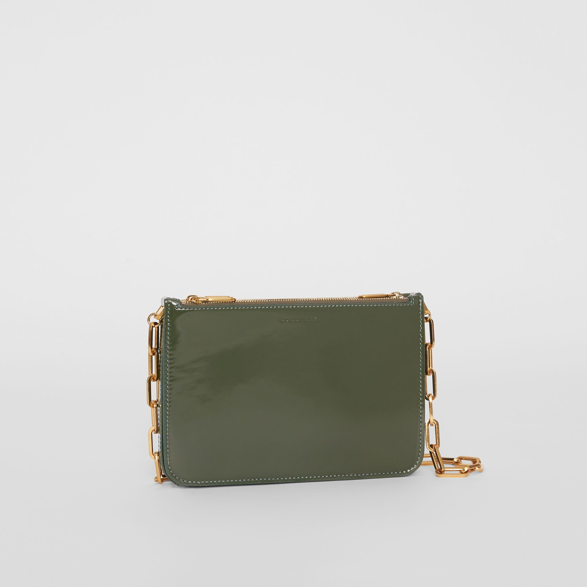 Triple Zip Patent Leather Crossbody Bag in Dark Forest Green - Women | Burberry United States - gallery image 4