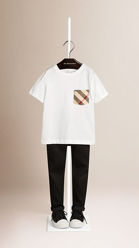 White Check Pocket T-Shirt - Image 1