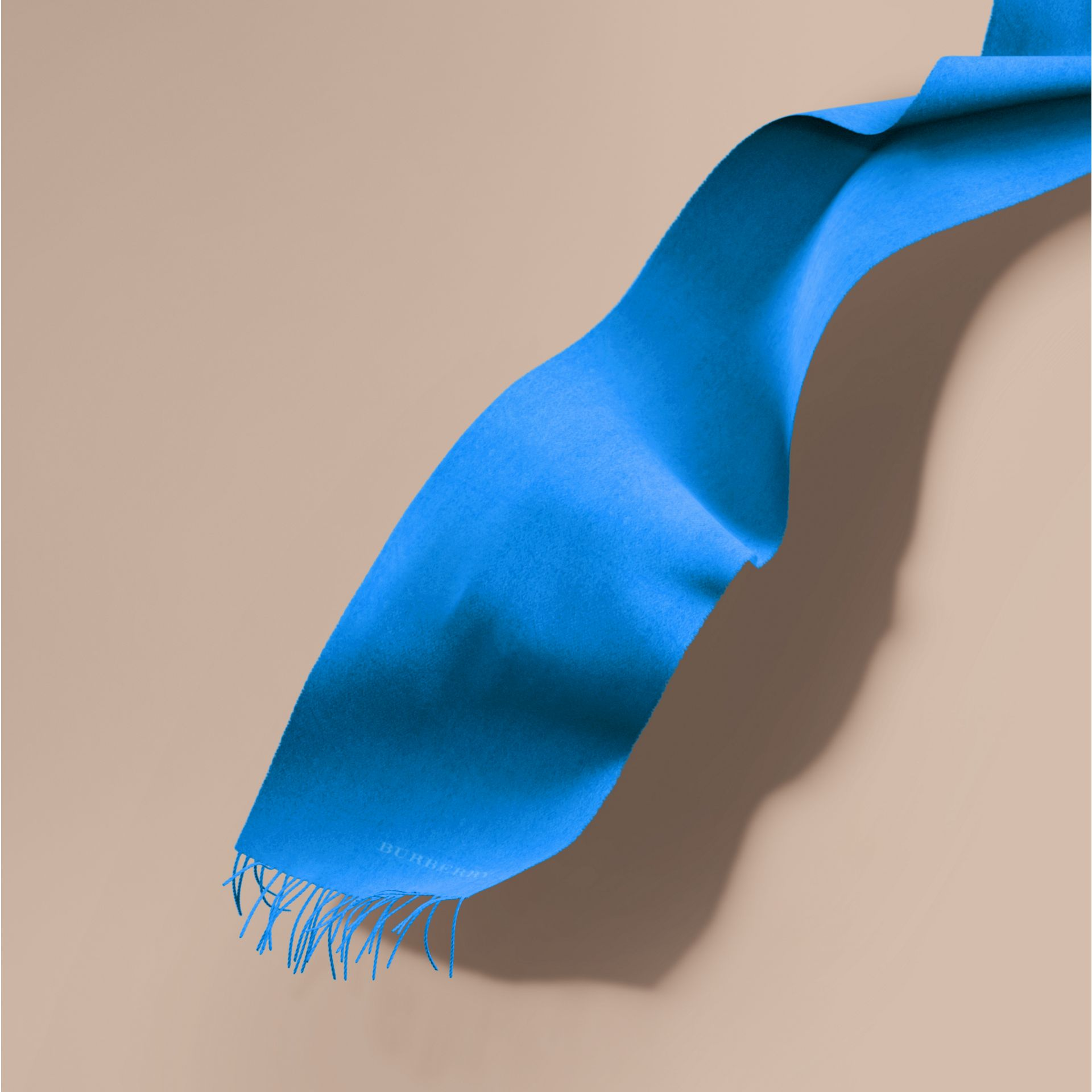 The Classic Cashmere Scarf Bright Cornflower Blue - gallery image 1