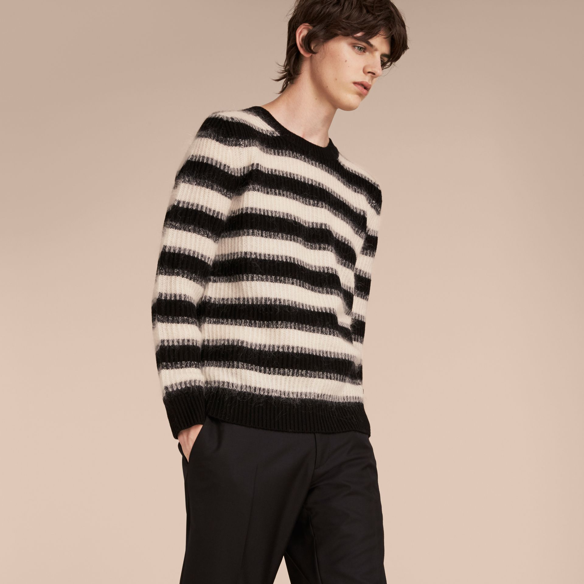 Natural white/black Striped Ribbed Wool Mohair Blend Sweater - gallery image 6