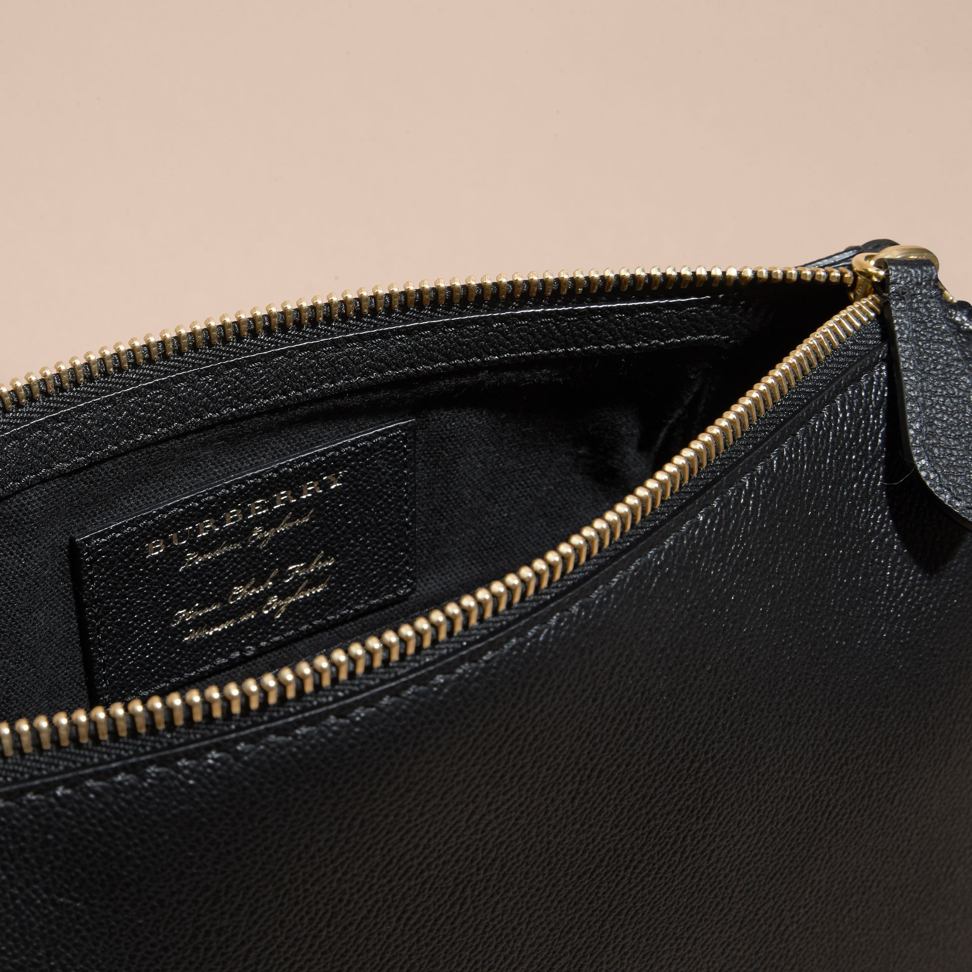 Buckle Detail Leather and House Check Crossbody Bag Black - gallery image 5