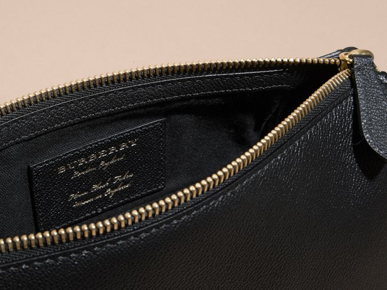 Buckle Detail Leather and House Check Crossbody Bag in Black - Women | Burberry Canada - cell image 4
