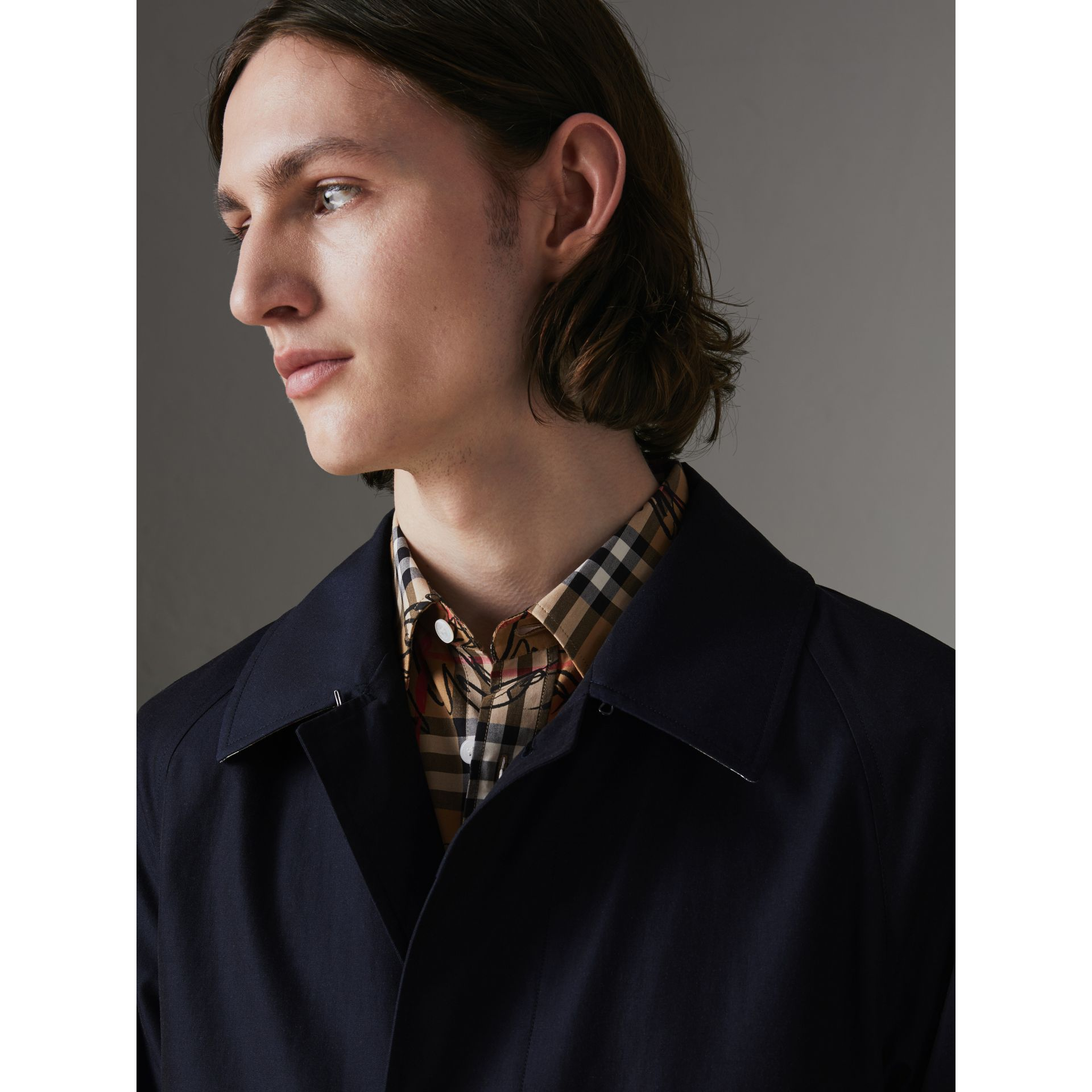 The Camden Car Coat in Blue Carbon - Men | Burberry - gallery image 4