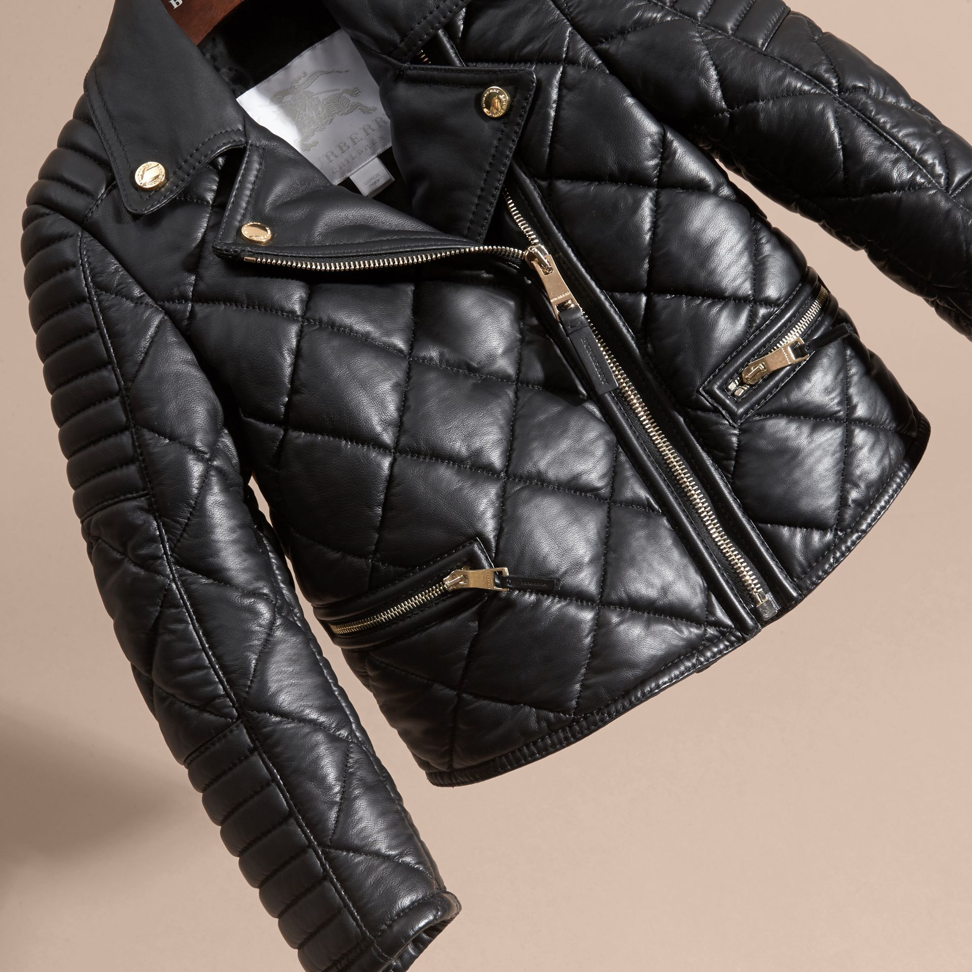 Black Quilted Lambskin Biker Jacket - gallery image 3