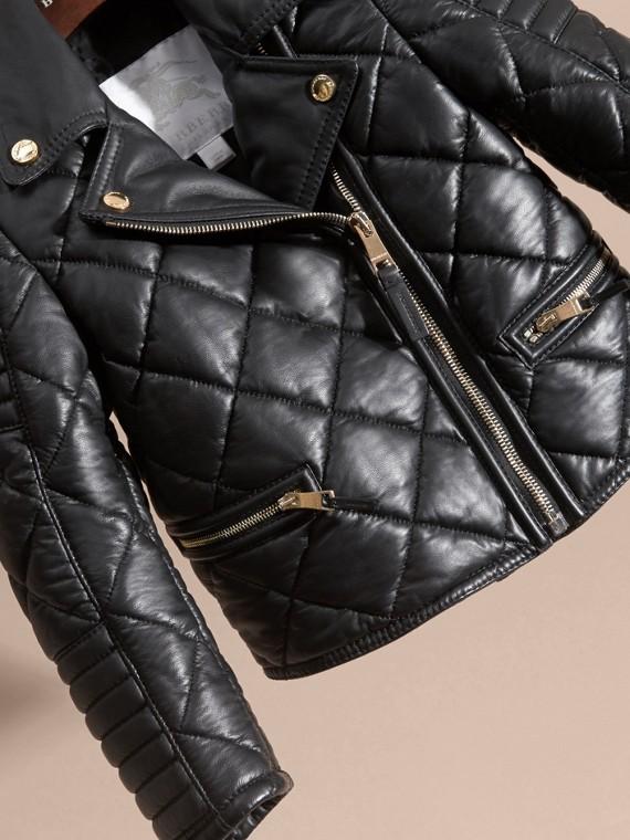Черный Стеганая байкерская куртка из кожи ягненка - cell image 2