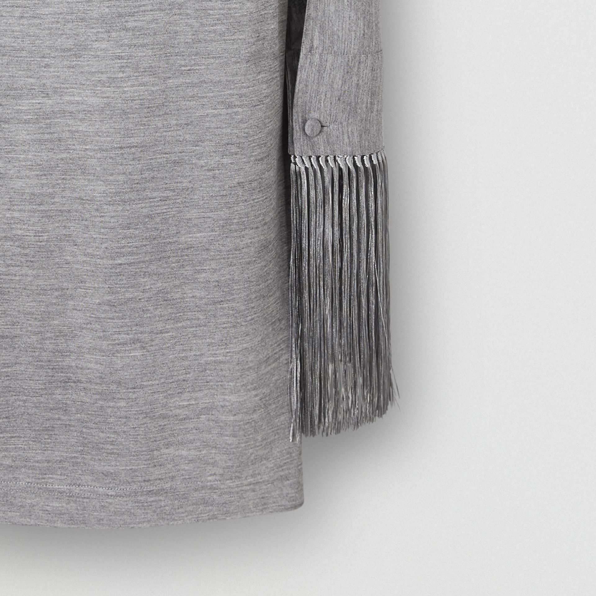 Merino Wool Sleeveless Dress with Fringed Capelet in Cloud Grey - Women | Burberry Australia - gallery image 1