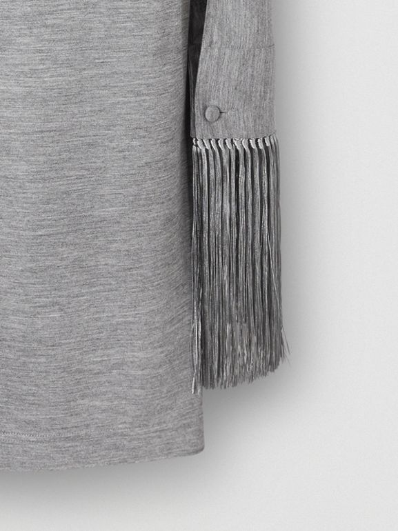 Merino Wool Sleeveless Dress with Fringed Capelet in Cloud Grey - Women | Burberry Australia - cell image 1