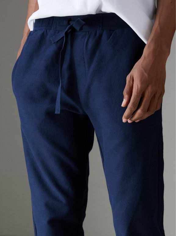 Herringbone Cotton Sweatpants in Navy - Men | Burberry United States - cell image 1