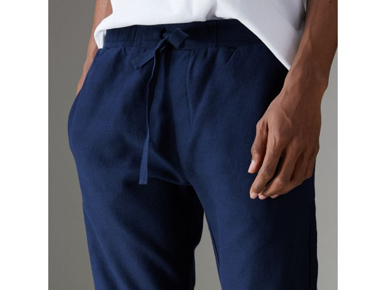 Herringbone Cotton Sweatpants in Navy - Men | Burberry - cell image 1