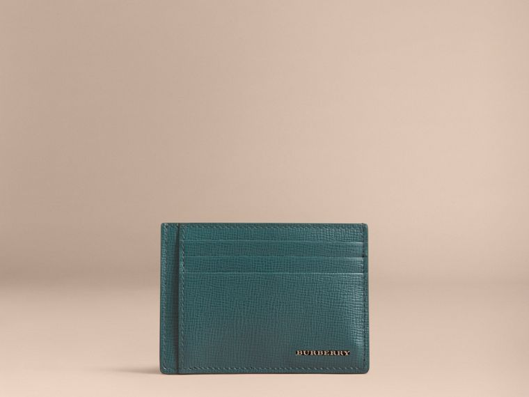 London Leather Money Clip Card Case in Dark Teal - Men | Burberry - cell image 1