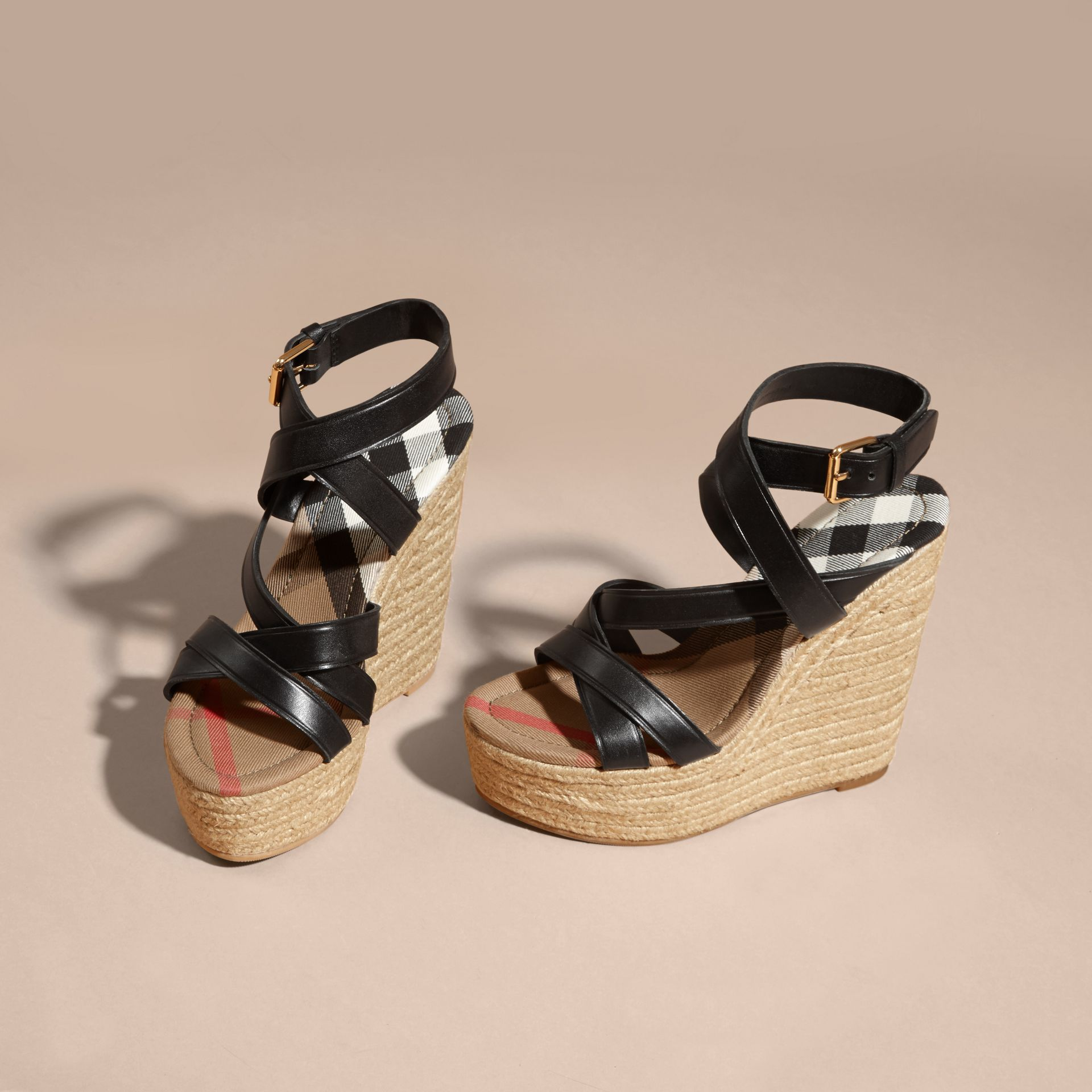 Leather Platform Espadrille Wedge Sandals in Black - Women | Burberry Canada - gallery image 4