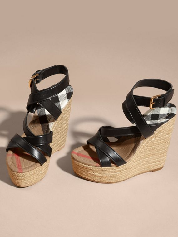 Leather Platform Espadrille Wedge Sandals in Black - Women | Burberry Canada - cell image 3