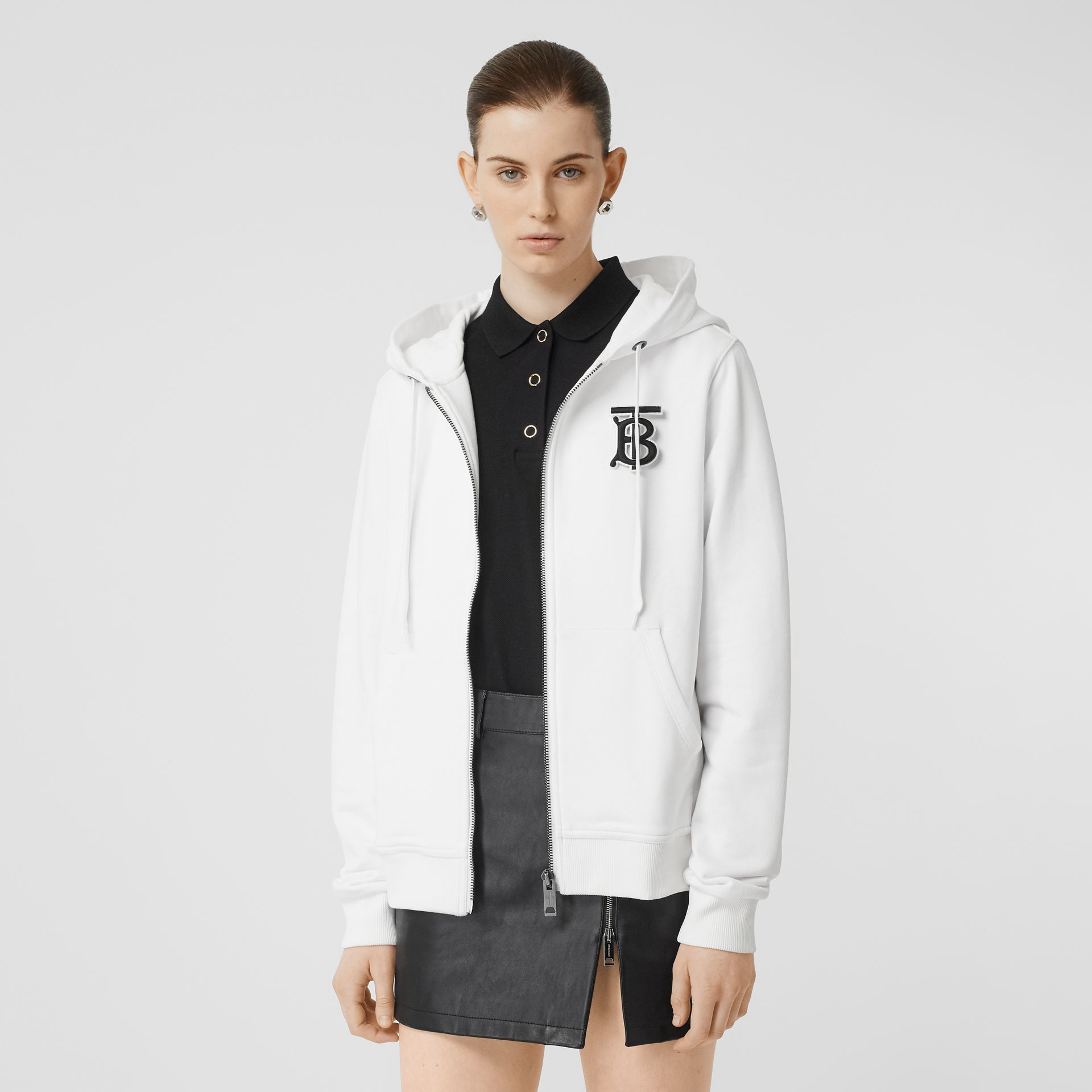 Monogram Motif Cotton Oversized Hooded Top in White - Women | Burberry Hong Kong - gallery image 0