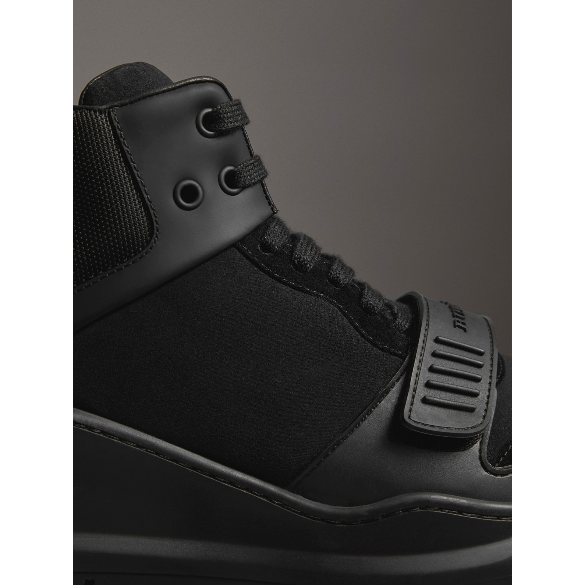 Suede Trim Neoprene High-top Sneakers in Black | Burberry - gallery image 1