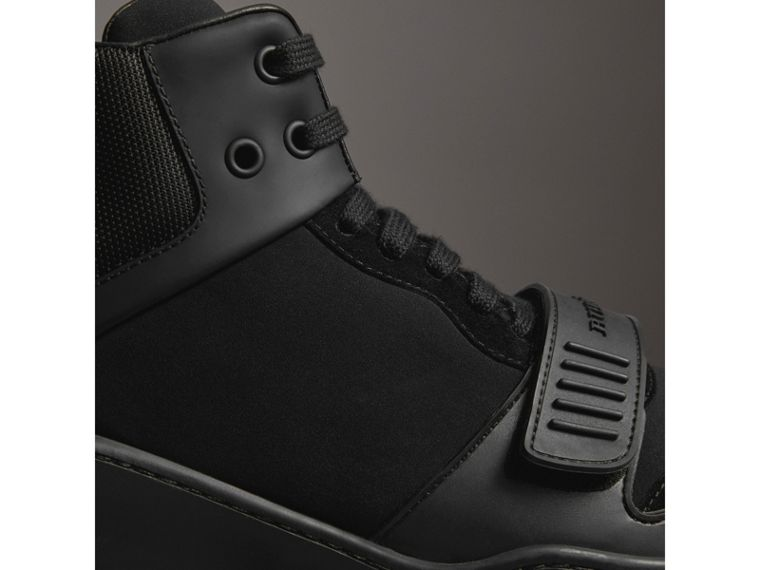 Suede Trim Neoprene High-top Sneakers in Black | Burberry United Kingdom - cell image 1