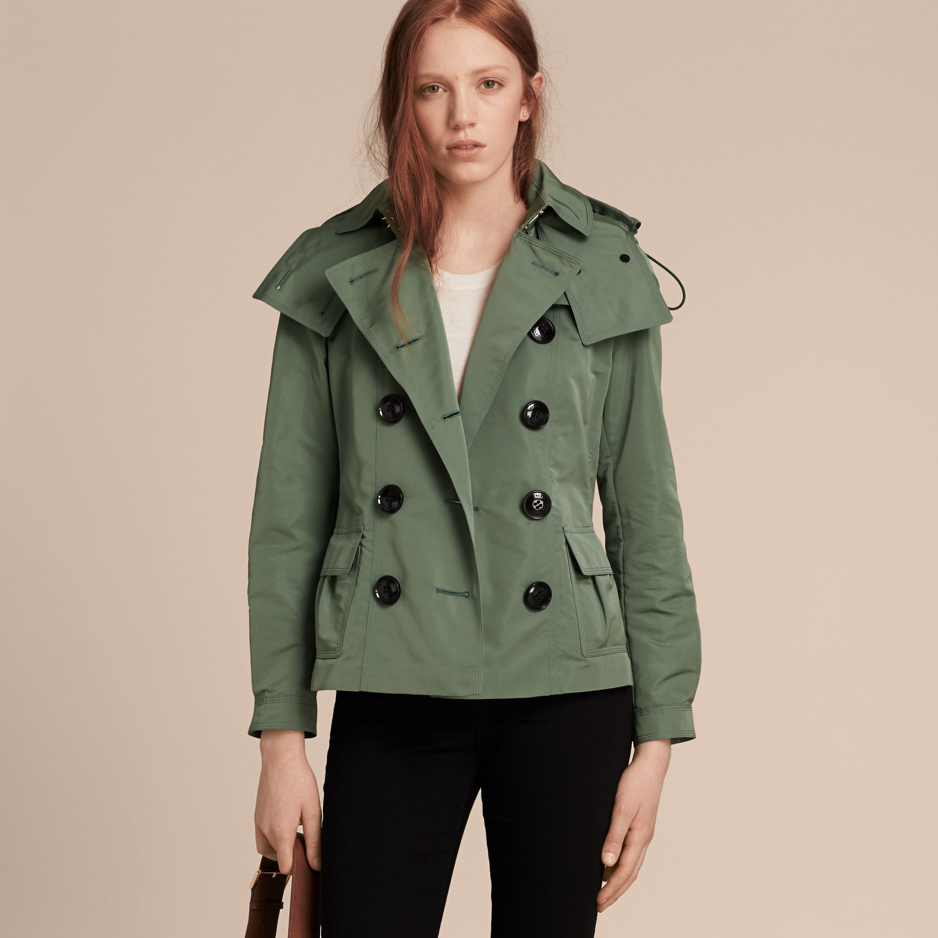 Eucalyptus green Showerproof Taffeta Trench Jacket with Detachable Hood Eucalyptus Green - gallery image 7