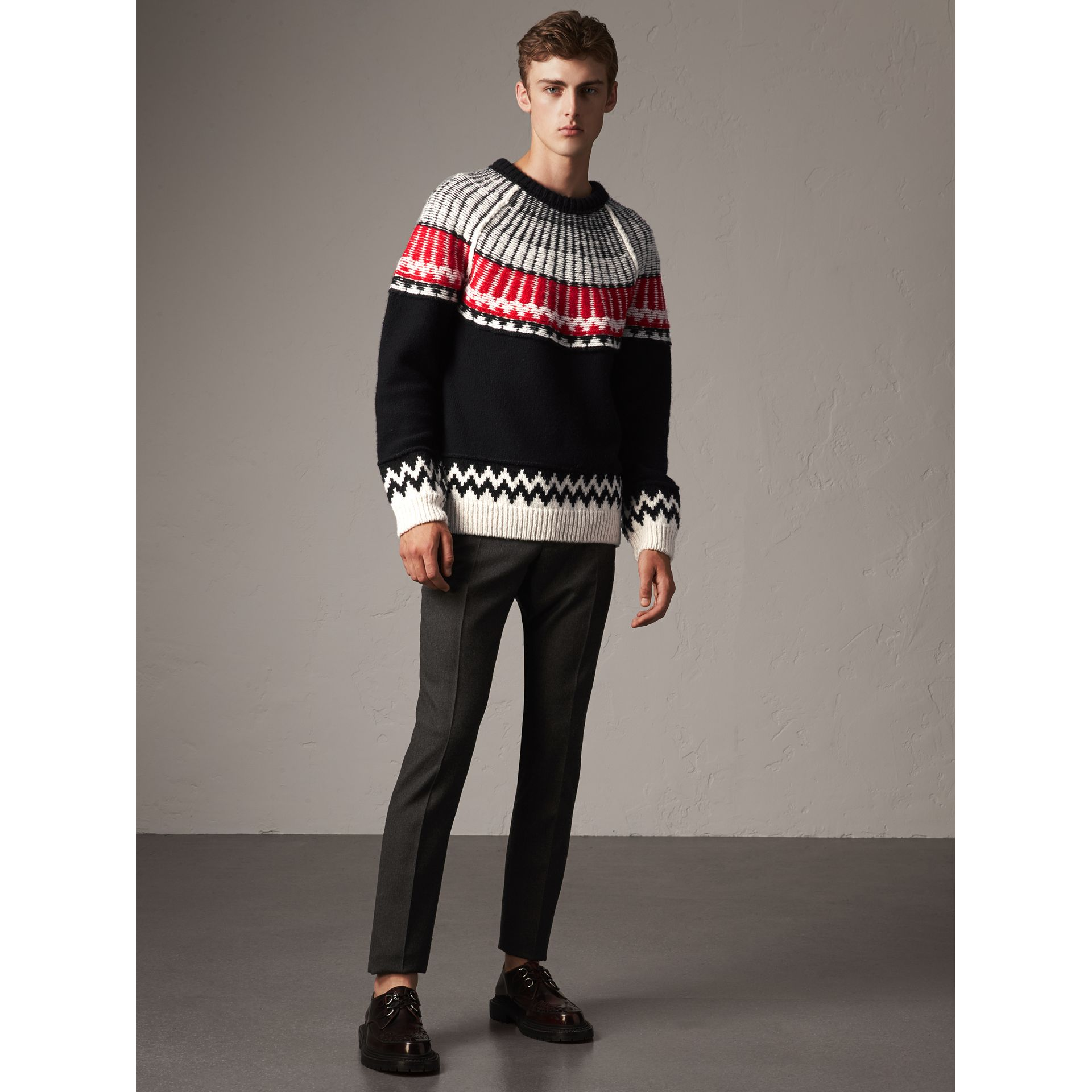 Fair Isle Wool Cashmere Sweater in Black/ Military Red - Men | Burberry - gallery image 0