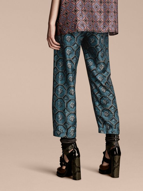 Dark mineral blue Geometric Wallpaper Print Silk Twill Cropped Pyjama-style Trousers Dark Mineral Blue - cell image 2