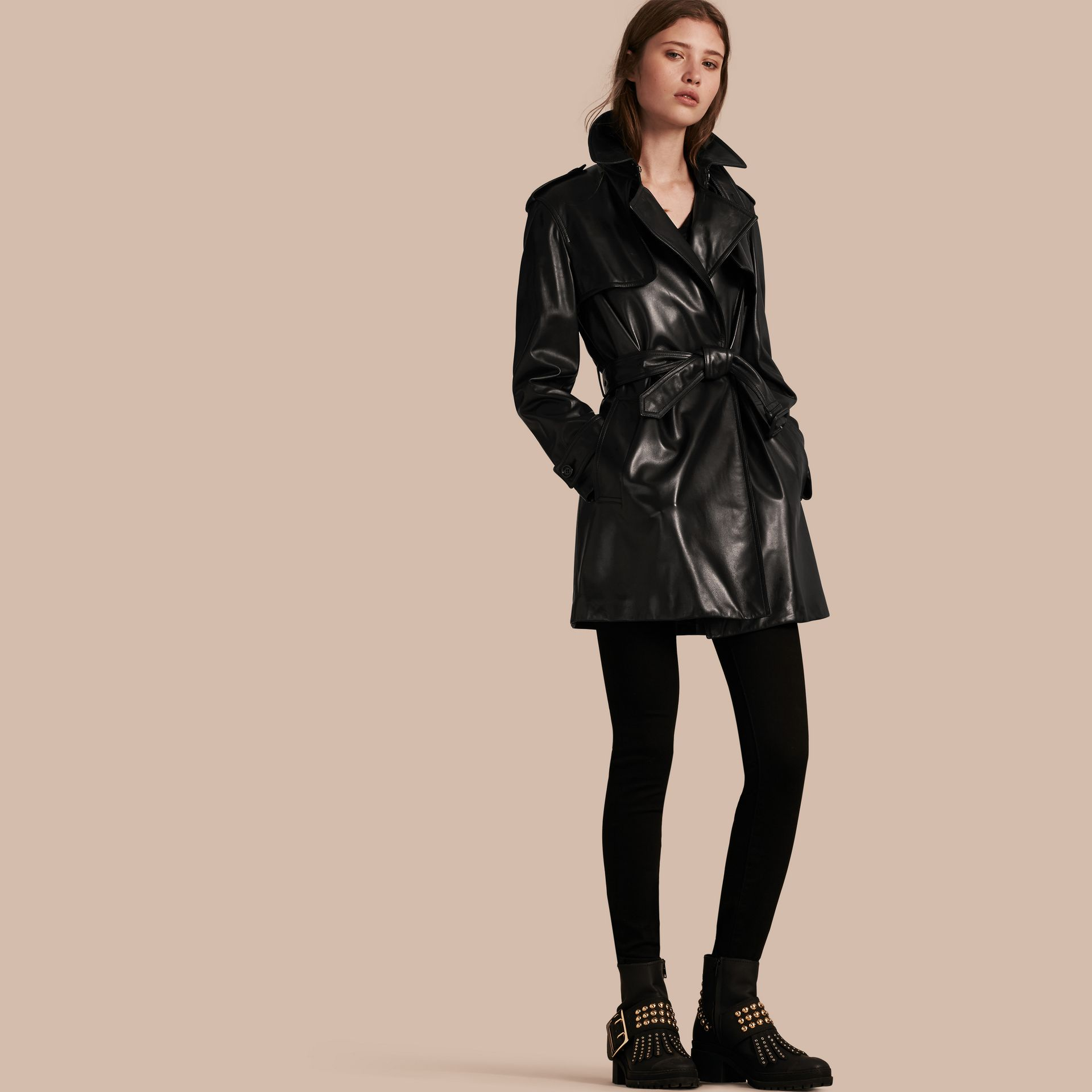 Black Oversize Wrap Lambskin Trench Coat - gallery image 1