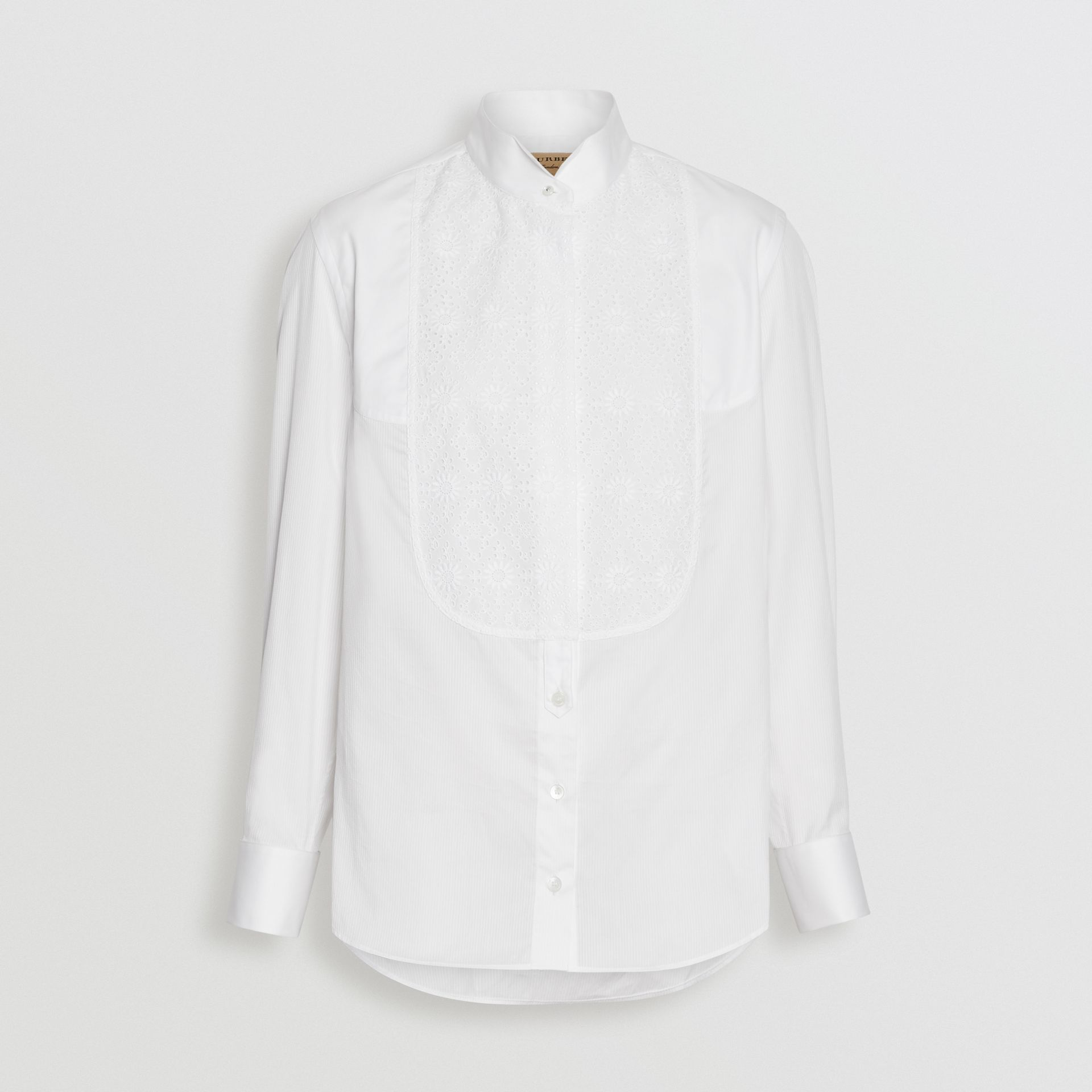Floral Bib Silk Cotton Shirt in White - Women | Burberry - gallery image 3