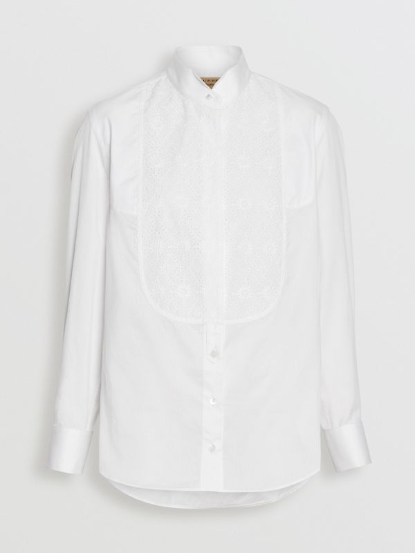Floral Bib Silk Cotton Shirt in White - Women | Burberry - cell image 3