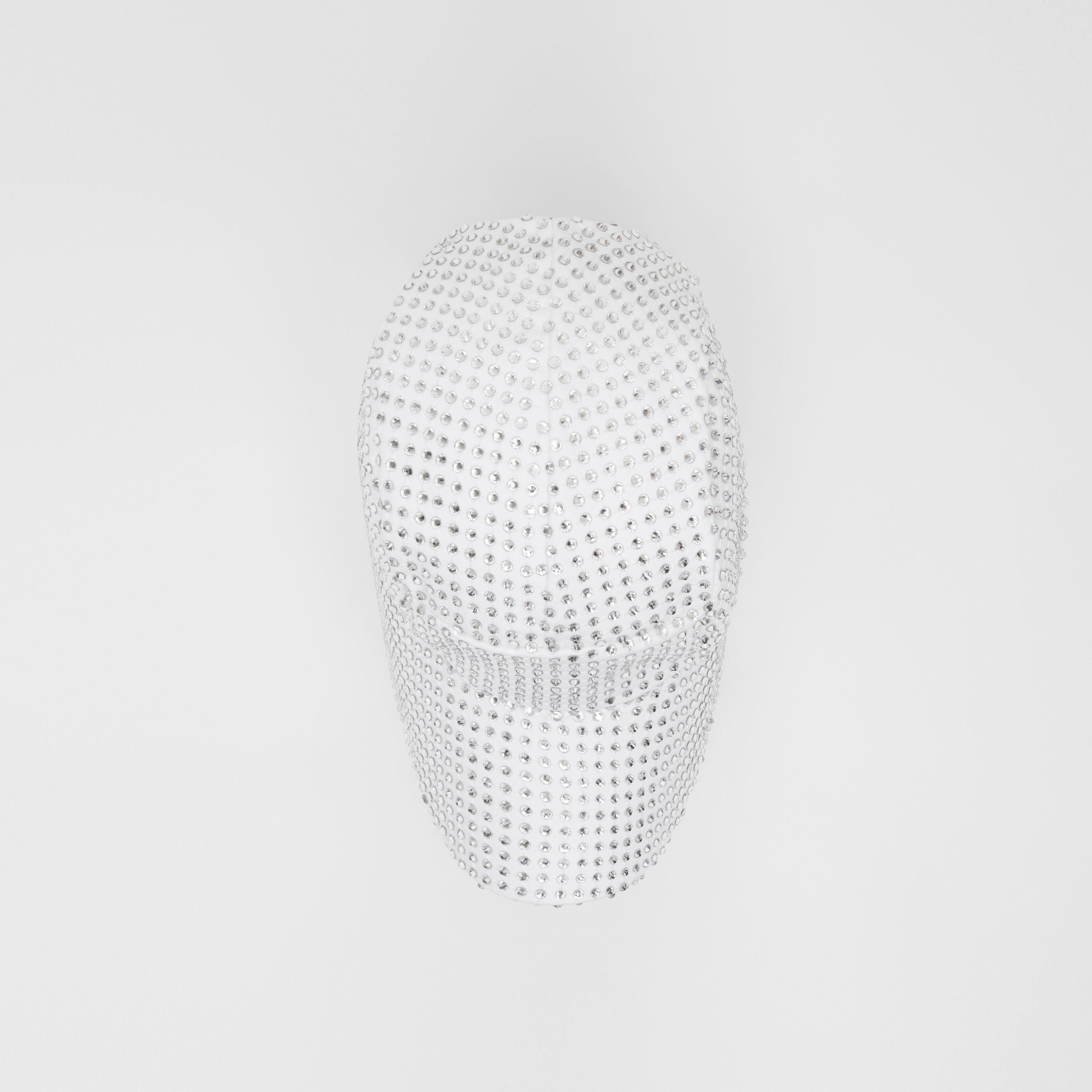 Crystal Mesh Detail Cotton Bonnet Cap in Optic White | Burberry - 1