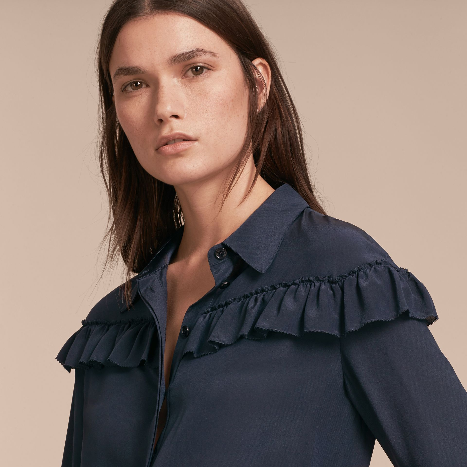 Frill Detail Silk Crepe De Chine Shirt in Navy - gallery image 5