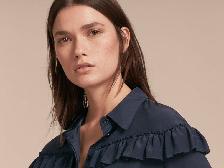 Navy Frill Detail Silk Crepe De Chine Shirt Navy - cell image 4
