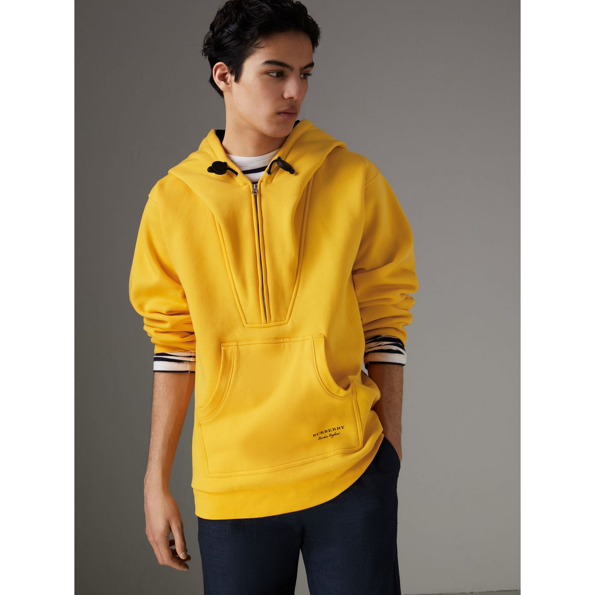 Oversized Sweatshirt Half-zip Hoodie in Bright Yellow - Men | Burberry United Kingdom - gallery image 5