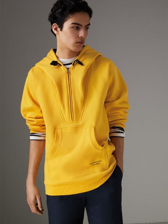 Oversized Sweatshirt Half-zip Hoodie in Bright Yellow
