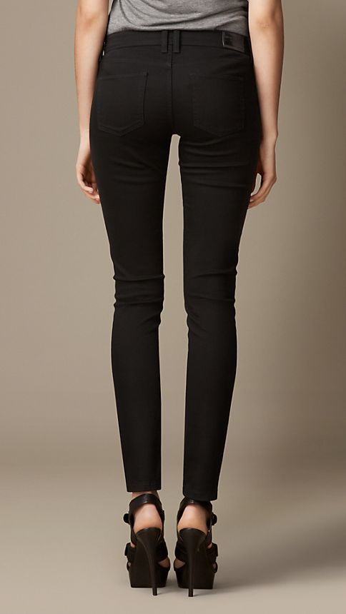 Black Skinny Fit Low-Rise Deep Black Jeans - Image 2