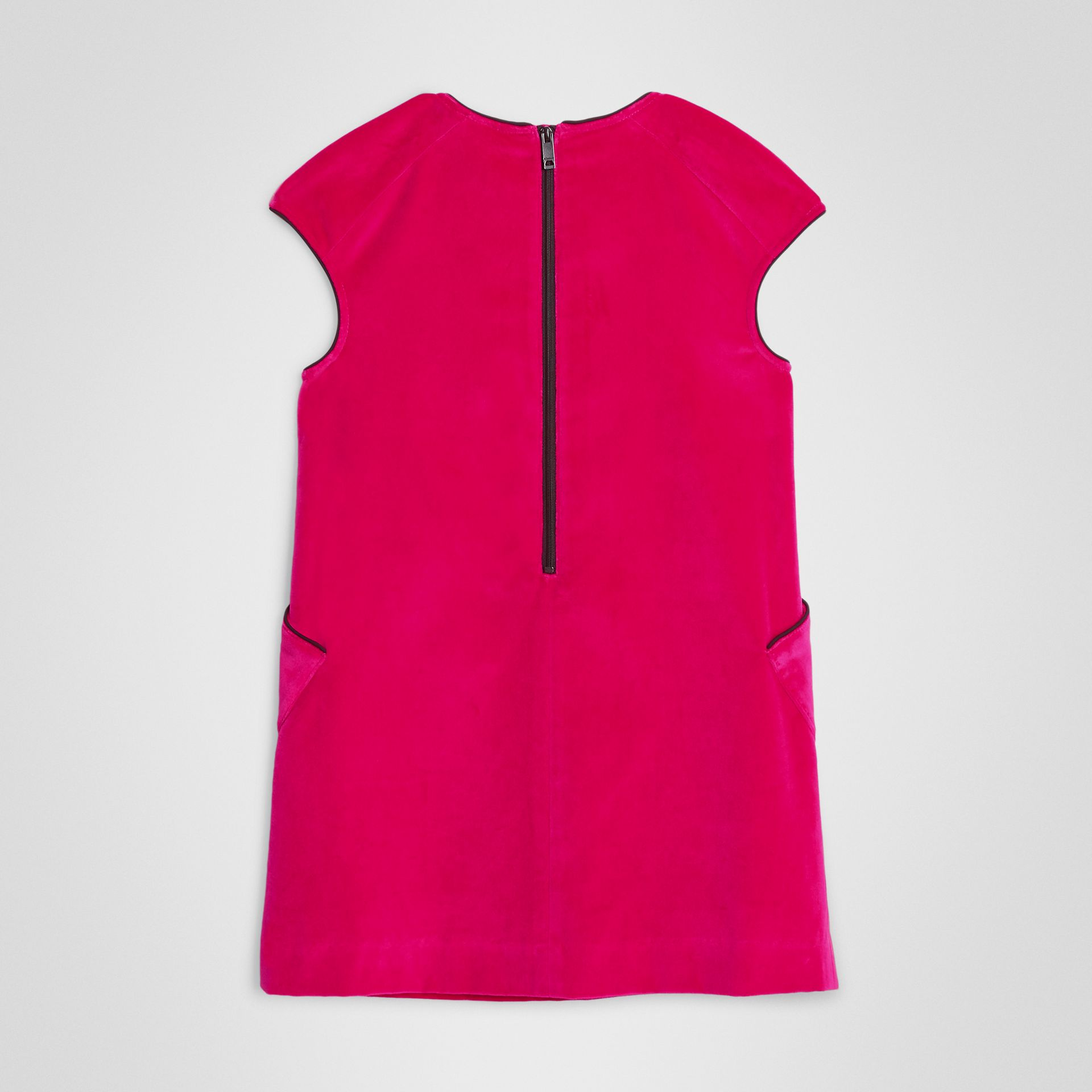 Piping Detail Velvet Shift Dress in Raspberry | Burberry United Kingdom - gallery image 3