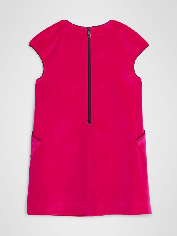 Piping Detail Velvet Shift Dress in Raspberry | Burberry United Kingdom - cell image 3