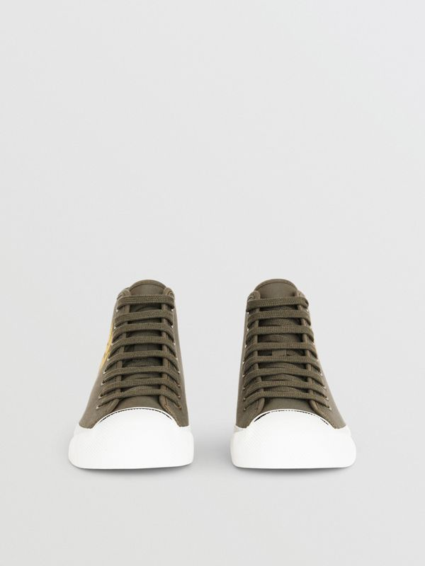Embroidered Archive Logo High-top Sneakers in Oregano - Women | Burberry - cell image 2
