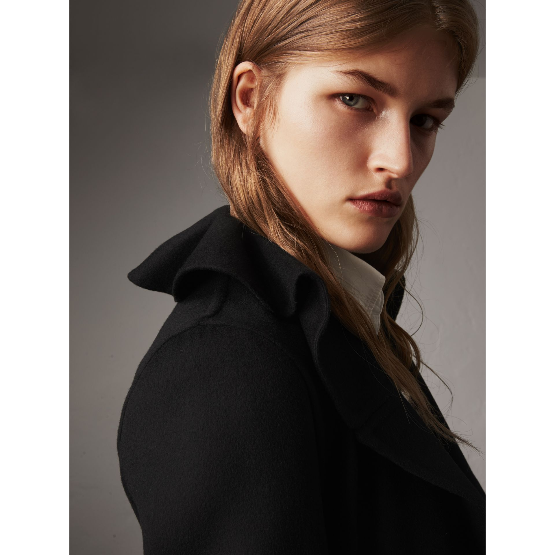 Ruffled Collar Wool Cashmere Coat in Black - Women | Burberry Canada - gallery image 2