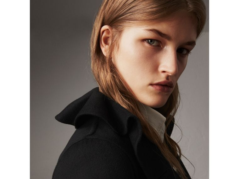 Ruffled Collar Wool Cashmere Coat in Black - Women | Burberry Canada - cell image 1