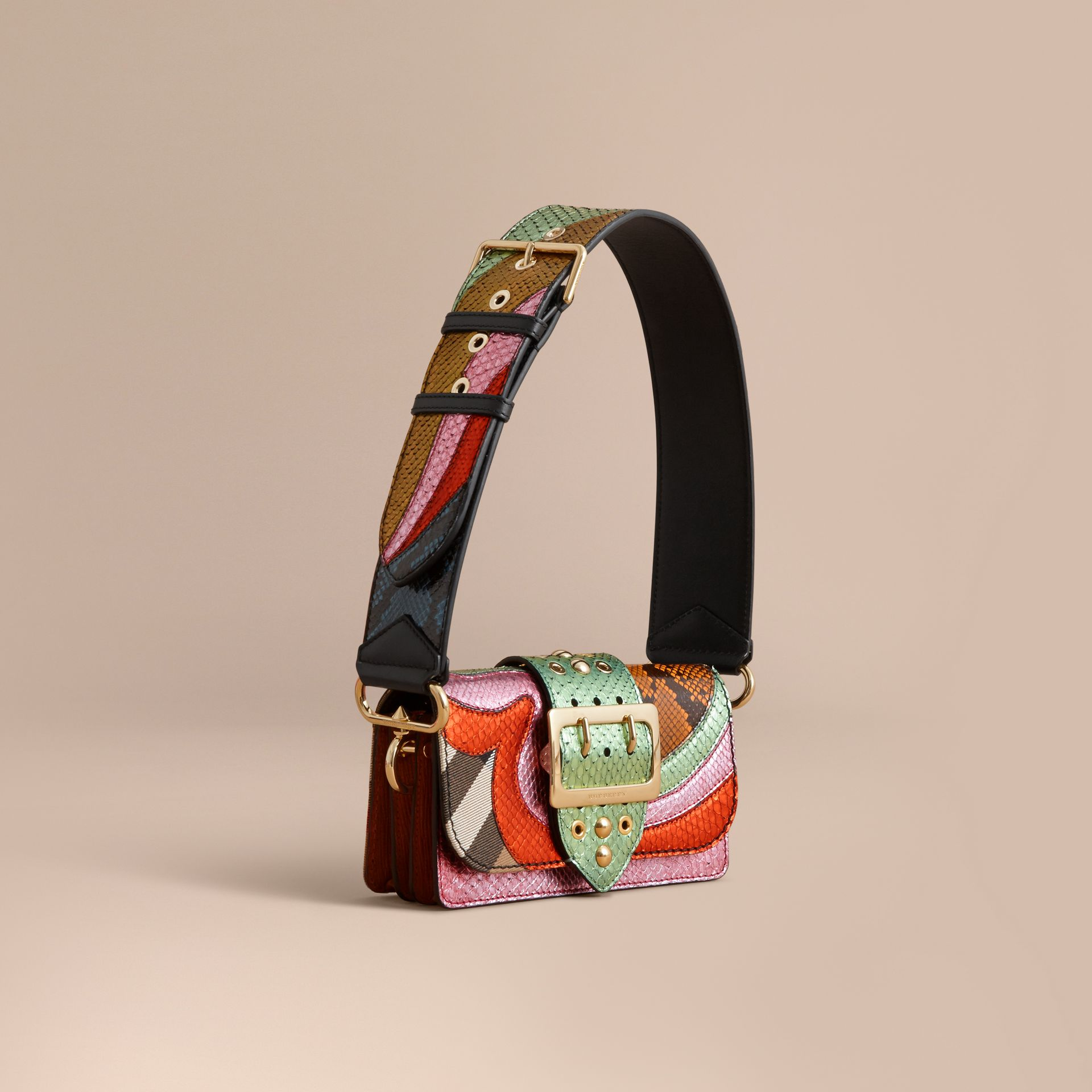 The Small Buckle Bag in House Check and Snakeskin - gallery image 1